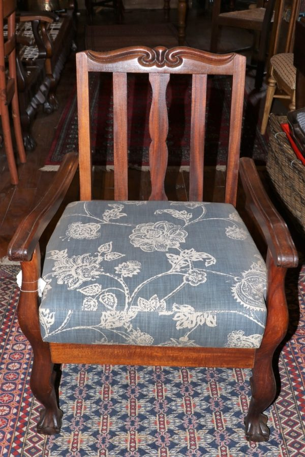 Mahogany ball & claw sewing chair